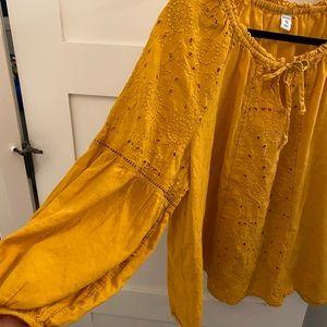 Mustard yellow long sleeve blouse
